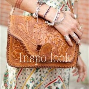 Vintage Tooled Leather Saddle Bag